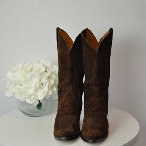 Lucchese Brown Suede Cowgirl Boots - 7